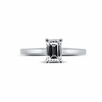 Emerald Cut Claw Set Engagement Ring 0.45ct E VS2